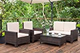Homall 4 Pieces Outdoor Patio Furniture Sets Rattan...
