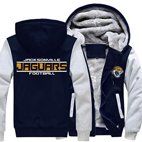 N/G Herren Rugby Hoodie-Jacksonville Jaguar Reißverschlussjacke, weiche und hautfreundliche Langarmjacke (Größe: S-5XL)