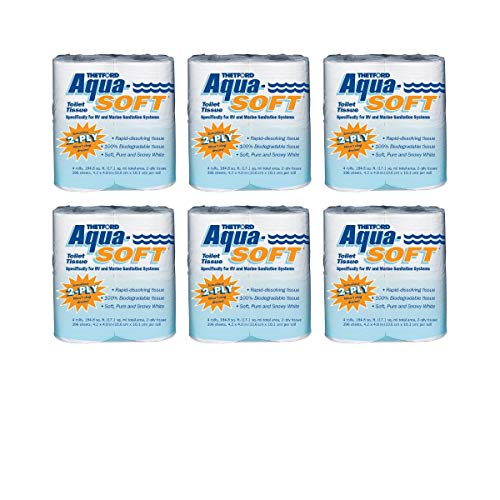 Aqua-Soft Toilet Tissue - Toilet Paper for RV and marine - 2-ply 4 Rolls Thetford 03300 (6 Pack)
