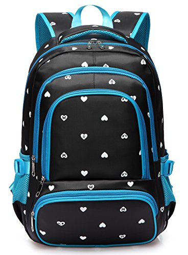 Durable Girls Bookbags for Kids Primary School Bags Backpacks for Students Daypack Cute Water Resistant (Black & Blue)
