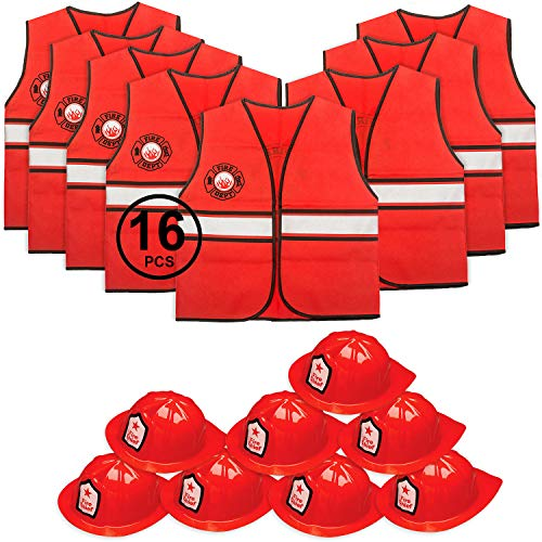 Tigerdoe Fireman Party Hats - Firefighter Hats and Vests - Fireman Themed Party - Fireman Birthday Party Supplies (8 Fireman Hats & 8 Fireman Vests) Red