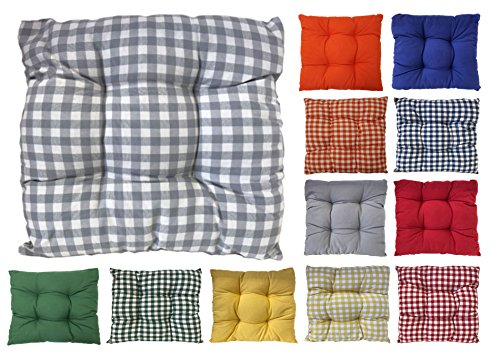 Tropik home Colourful Seat Pads, Garden Kitchen Dining Chair Cushions Tie On (Grey Gingham)