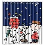 Charlie Brown & Snoopy Print Shower Curtain 66x72inch, Bathroom Shower Curtain, Waterproof...
