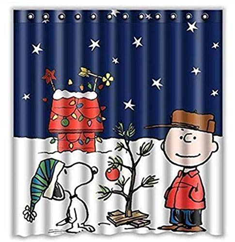 Charlie Brown & Snoopy Print Shower Curtain 66x72inch, Bathroom Shower Curtain, Waterproof Shower Curtain with 10 Hooks