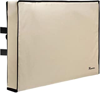 """Outdoor TV Cover 80"""" - 85"""" inch - Universal Weatherproof Protector for Flat Screen TVs - Fits Most TV Mounts and Stands - Beige"""