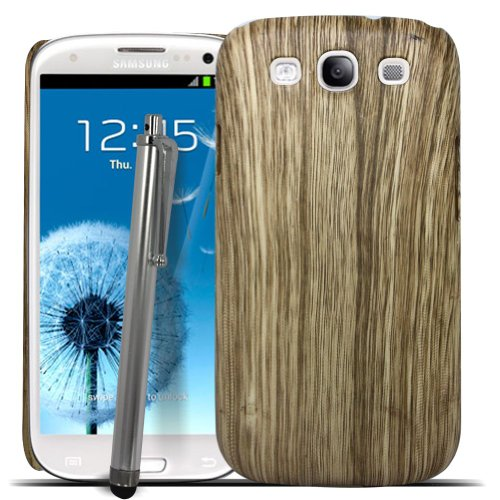 Accessory Master-Cover Posteriore Rigida, Colore: Marrone, Effetto Legno, Colore: Bianco, Custodia per Samsung Galaxy s3 i9300