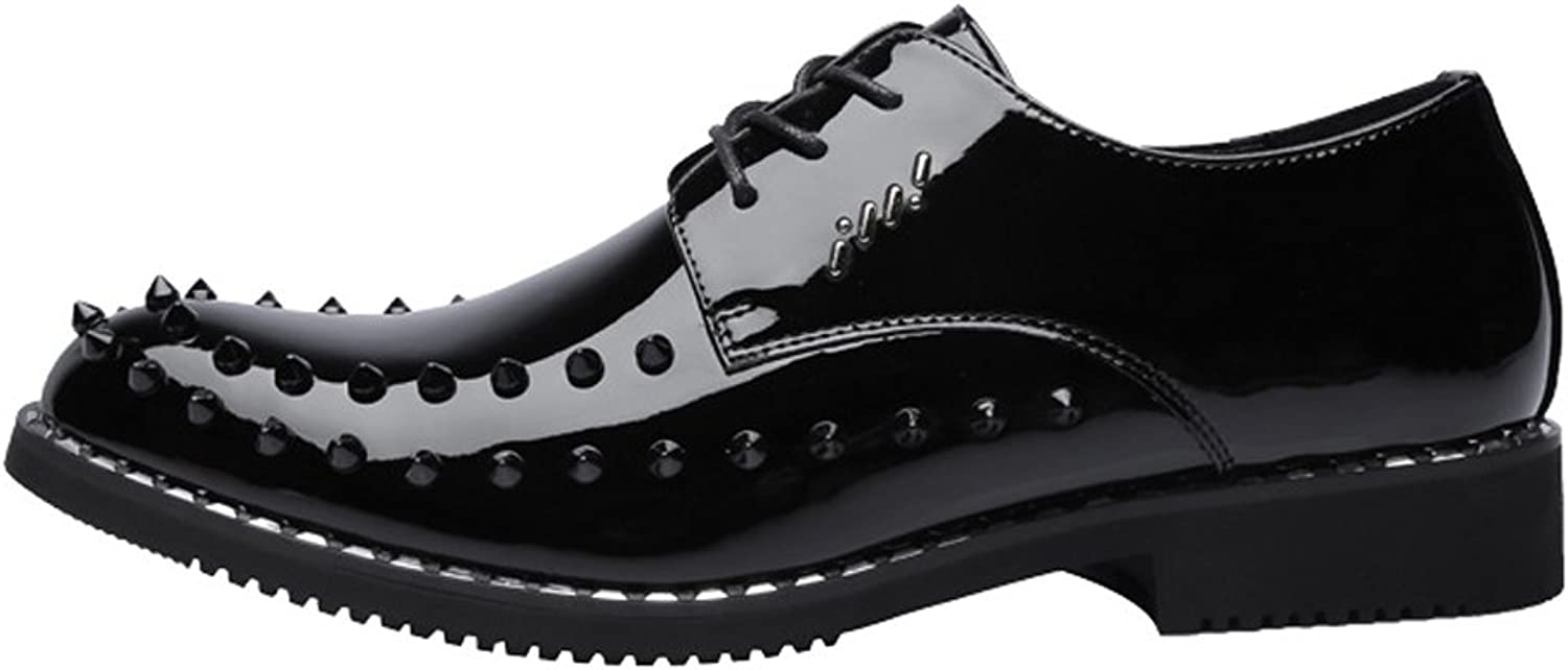 Z.L.F shoes Men's Punk Style Modern shoes Smooth PU Leather Prom Loafer Lace Up Breathable Lined Oxfords with Rivets Leather shoes
