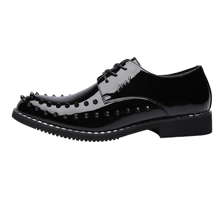 [Hardy] メンズパンクスタイルの靴スムースPUレザーウエディングローファーレースアップ通気性の裏地付きオックスフォードリベットドレスシューズ