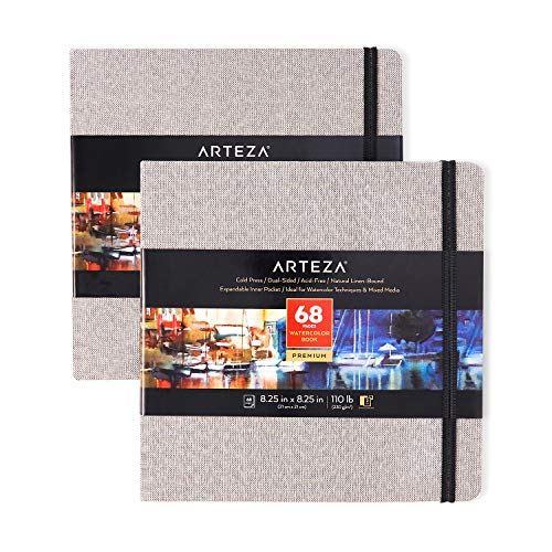 Arteza Watercolor Sketchbooks, 8.25x8.25-inch, 2-Pack, 68 Sheets, Gray Art Journal, Hardcover 110lb Paper Book, Watercolor Sketchbook for Use as Travel Journal and Mixed Media Pad