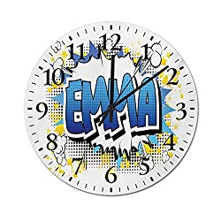 Timepiece Youthful Energetic Name Design for Teenage Girls Cartoon Stars and Burst Wooden Noiseless Wall Clock Decorative for Kitchen, Home, Living Room, Farmhouse, Bedrooms Blue and Black 9.8 Inch
