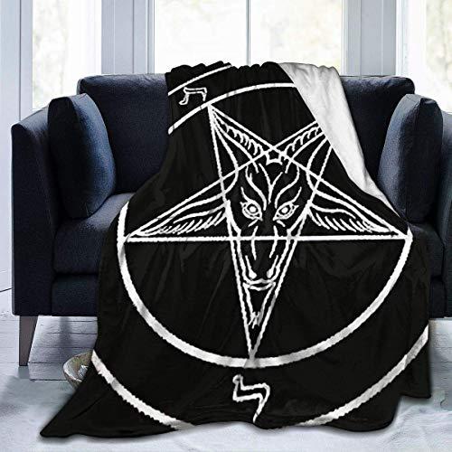 wobuzhidaoshamingzi Flanell-Decke Superweiche gemütliche Couchdecke, Aazazel Storm Goat Pentagram Satanic Logo Schwarz