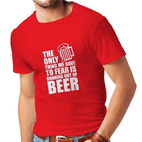 lepni.me Camisetas Hombre Tener Miedo de no Tener una Cerveza - para la Fiesta, Bebiendo Camisetas (Medium Rojo Blanco)