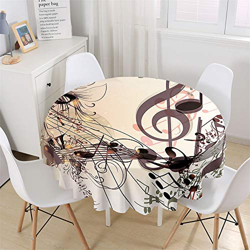 Chickwin Round Fitted Tablecloth Waterproof Dust-Proof Music Printed Wipe Clean Polyester Table Cover, Table Protector for Garden Kitchen Dinning Tabletop Decoration (String music symbol,120cm)