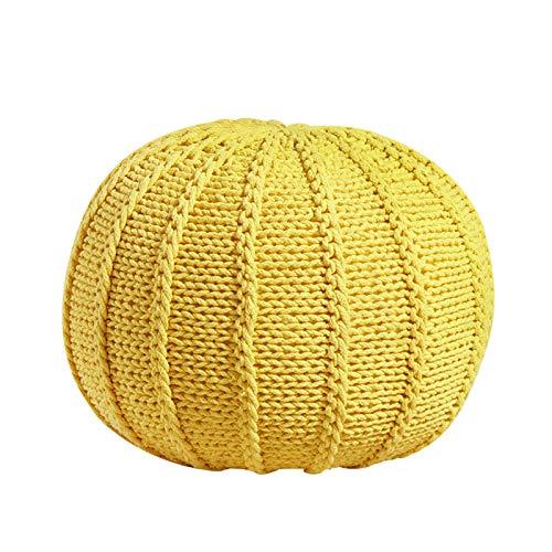 SHENGYUAN Taburete de puf Redondo para el hogar - Silla de Piso de puf de Punto - Cordón Trenzado de algodón - Ideal para la Sala de Estar, el Dormitorio y la habitación de los niños,Amarillo