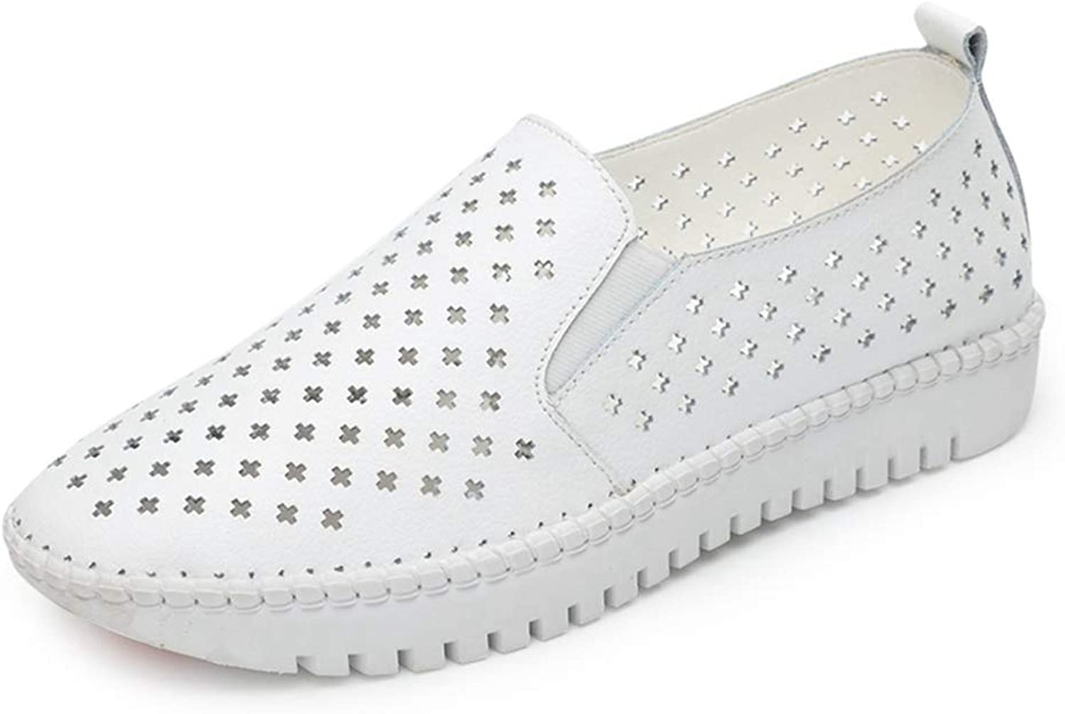 August Jim Women Flats shoes,Cut Out Genuine Leather Slip on Sneakers shoes
