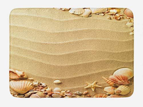 ABAKUHAUS Playa Tapete para Baño, Arena con Conchas de mar, Decorativo de Felpa Estampada con Dorso Antideslizante, 45 cm x 75 cm, Marrón Arena coralina