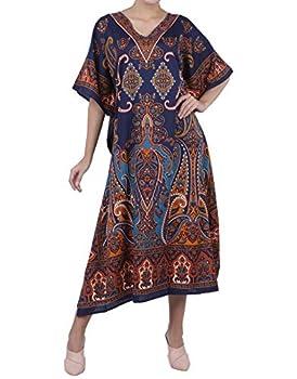 Women Kaftan Tunic Kimono Free Size Long Maxi Party Dress for Loungewear Holidays Nightwear Dresses  One Size 104-Blue
