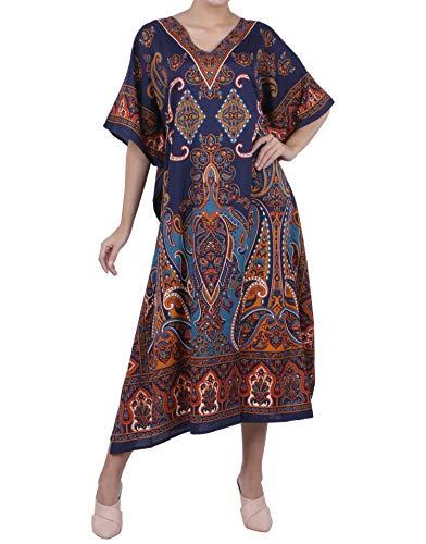 Miss Lavish London Frauen Damen Kaftan Tunika Kimono freie Größe Lange Maxi Party Kleid für Loungewear Urlaub Nachtwäsche Strand jeden Tag Kleider #102 [Blau EU 52-56]