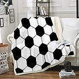 Soccer Blanket Black White Throw Blanket Football Sherpa Fleece Blanket Sports Blanket for Boys Girls Teens Soft Warm Blanket for Bedroom Couch Sofa (Throw (50'x60'), Soccer)