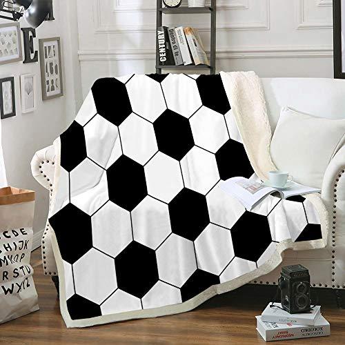 Soccer Throw Blanket Black White Blanket Sherpa Fleece Blanket Sports Blanket for Boys Girls Teens Soft Warm Blanket for Bedroom Couch Sofa (Throw (50'x60'), Soccer)