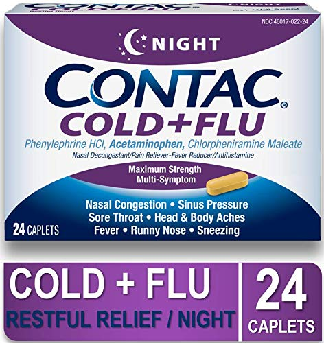 CONTAC Cold+Flu Night, 24 Night Caplets, Restful Relief from Cold & Flu Symptoms