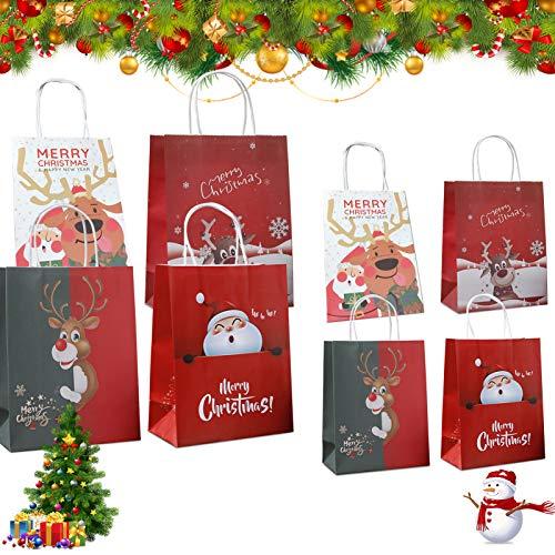 12 PCS sacchettini carta,Buste Regalo,sacchetti regalo in carta kraft,Sacchetti Regalo Carta,Piccoli Natale scatole Regalo...