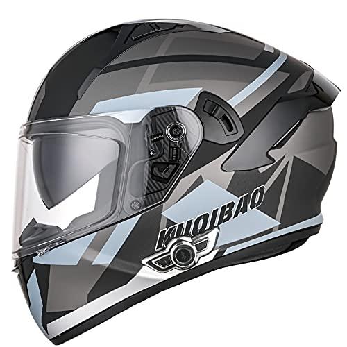 Bluetooth Casco Moto Integral, Casco Integrado ECE Homologado para Mujer Hombre Adultos con Anti Niebla Doble Visera, Casco de Moto Scooter con 3000mA Auriculares Bluetooth