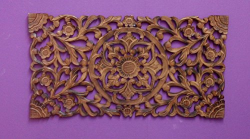 DRW - Mandala Tallado Rectangular de Madera Calada en Color marrón