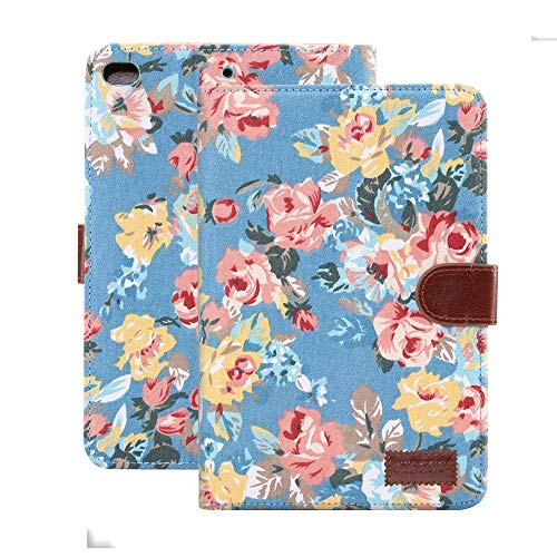 MiusiCase Case for iPad 9.7' 2018/2017/iPad Air 2/iPad Air - Luxury Vintage Cute Flowers Floral Designer Case Rugged Sturdy Shockproof Protective Cover Case With Auto Sleep/Wake, Blue