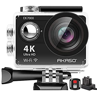 AKASO EK7000 4K Sport Action Camera Ultra HD Camcorder 12MP WiFi Waterproof Camera 170 Degree Wide View Angle 2 Inch LCD Screen W/2.4G Remote Control/2 Rechargeable Batteries/19 Accessories Kits (Black) by Akaso