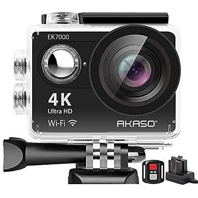 AKASO EK7000 4K WiFi Action Camera Ultra HD 30m Underwater Waterproof Camera Remote Control Underwater Camcorder with 2 Batteries and Helmet Accessories Kit (2019 Version) by AKASO