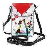 Small Crossbody Phone Bag Couple In Love Kiss Cartoon Women Mini Pu Leather Shoulder Bag Wallet