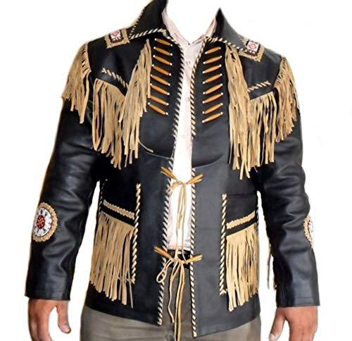 Vipconnection Western Cowboy - Chaqueta de Piel de Ante con Flecos para Hombre - Negro - M - Pecho 107 cm