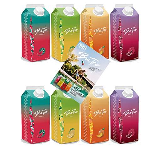 Capital BraTee 8er Tasting Set Eistee je 750ml mit Autogrammkarte BRATEE Ice tea 2x Wassermelone 2x Zitrone 2x Pfirsich 2x Granatapfel - mit Capi-Qualitäts-Siegel