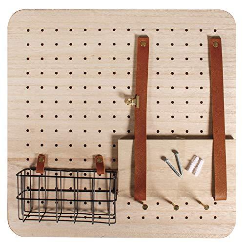 Rayher 62878000 Pin & Peg Starter set, 40 x 40 x 2,5 cm, inclusief accessoires, opbergsysteem, gatenwand, gatenplaat, houten plank, wandplank met plank, draadmand en ophangsysteem