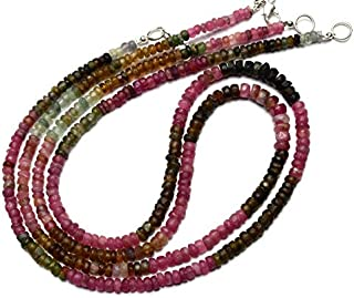 Natural Gem Multicolor Tourmaline Rough Unpolished 3 to 4MM Size Rondelle Beads Necklace 17 Inch Full Strand Complete Necklace