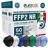 Eurocali 50 Mascherine FFP2 Colorate Certificate CE Italia BFE ≥99%. Mascherina FFP2 Mix 7 Colori Nere, Blu Scuro, Azzurre Verdi Lavanda Grigie Scuro e Bianche. ISO dispositivi Medici Made in Italy