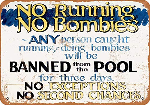 "Metallschild mit Aufschrift ""No Running No Bombies In Pool"", Vintage-Stil, 20,3 x 30,5 cm"