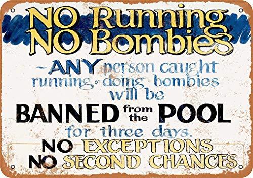 """Metallschild mit Aufschrift """"No Running No Bombies In Pool"""", Vintage-Stil, 20,3 x 30,5 cm"""