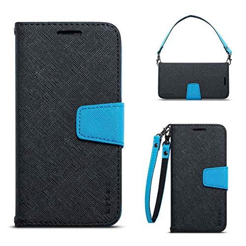 JEEXIA® Schutzhülle Für Nokia 6.1 Plus (2018), Retro PU Lederhülle Flip Cover Brieftasche Innenschlitzen Mit Stand Doppelte Farbe Ledertasche - Schwarz