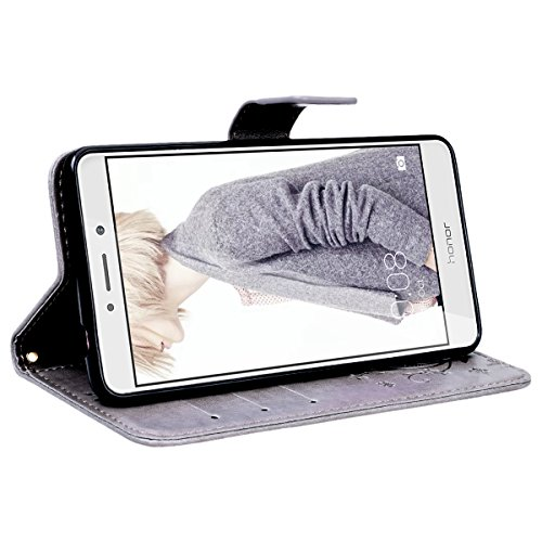 VemMore Huawei Honor 6X Hülle Handyhülle Schutzhülle Leder PU Wallet Flip Case Bumper Lederhülle Ledercase Schmetterling Blumen Muster Klapphülle Ultra Slim Dünn Klappbar Magnetisch Backcover - Grau - 5