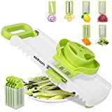 6 in 1 Mandoline Slicer Professional, Sedhoom Mandolin Slicer, Vegetable Slicer 6 Interchangeable Blades, Julienne Slicer Mandoline Slicer Cutter for Fruits Food and Vegetables, Veg Slicer