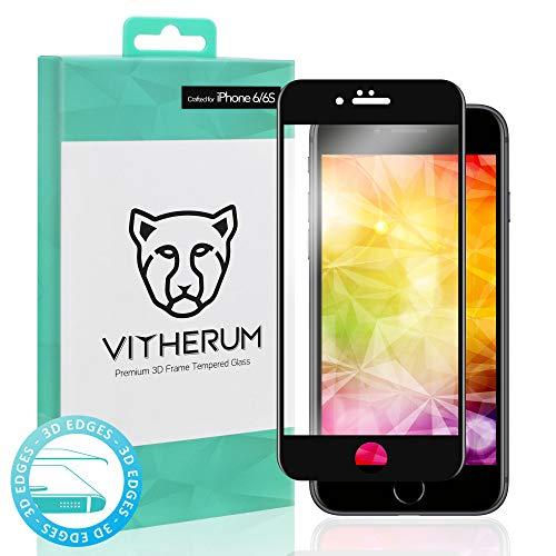 VITHERUM Turquoise pour iPhone 6 / 6S Noir Verre trempé incurvé 3D Touch, Protection d'écran Ultra résistant 9H et 188mJ