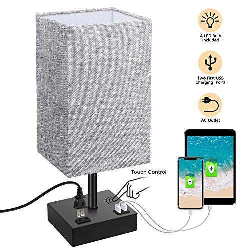 Touch Control Table Lamp SOLMORE 3 Way Dimmable Bedside Nightstand Lamp with AC Outlet amp 2 Charging USB Ports Fabric Shade Modern Lamp for Bedroom Office Living Room60W Equivalent LED Bulb Included