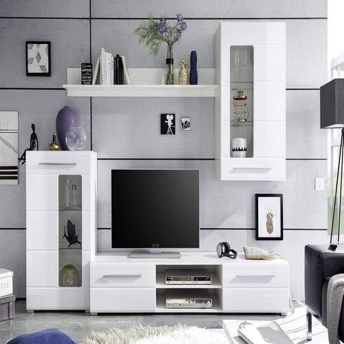 Stella Trading Enrique Wohnwand, Anbauwand, Holzdekor, Weiß Hochglanz, ca. 240 x 190 x 42 cm