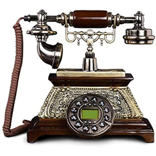 JDJFDKSFH Teléfono-Hogar Fijo Fijo, teléfono de Marco de botón, Auriculares metálicos Base de Madera Maciza Antiquewe DISEÑO DE GARANTÍA BIENVENIDOS