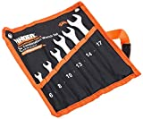 FINDER BS192180D Combination Wrench Set, Open and Box End Metric Spanner Set, 6mm-17mm, Set of 6Pcs