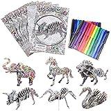 NATUCEJuego de Puzzle 3D, Puzzle 3D Animales, 6pcs Rompecabezas de Animales con 24 Rotuladores, Rompecabezas para Colorear 3D, Puzzle 3D Adecuados para Niños, Niñas de 5 a 12 Años