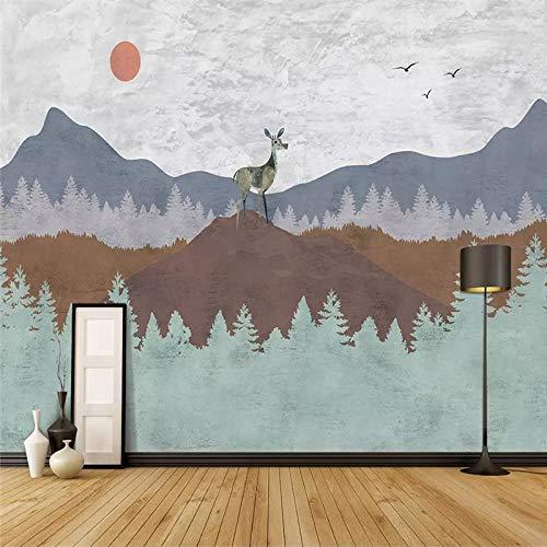DZBHSCL 4D behang wandschilderingen, Nordic cartoon berg groen bos Elk dier kunstdruk formaat fotobehang voor kinderkamer kinderkamer achtergrond wanddecoratie 24in×48in 60cm(H)×120cm(W)