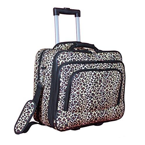 "World Traveler Women's Fashion Print Rolling 17"" Laptop Case-Leopard, One Size"